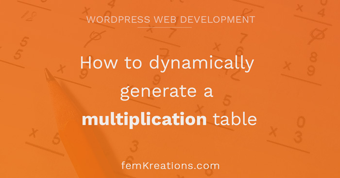 How to dynamically generate a multiplication table