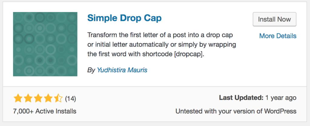 How to add drop caps- Simple Drop Cap Plugin