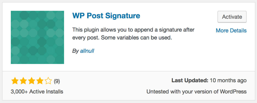 How to add signature to wordpress posts- WP Post Plugin